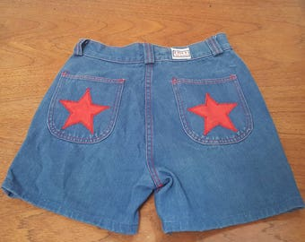 Vintage 70s DISCO JEANS Denim Jean Shorts with Red Stars Trim Roller Girl Boogie M 7/28