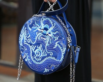 Leather Round Bag Embroidered Blue Dragon Chain Cross Body Bag