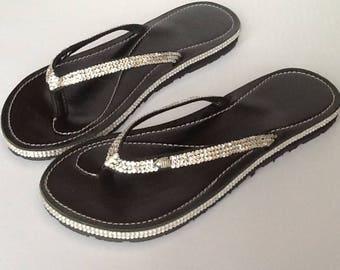 Wedding flipflops, Rhinestone Flip Flops, Swarovski Crystal,  Bridal flip flops, wedding Havaianas , Wedding shoes Handmade