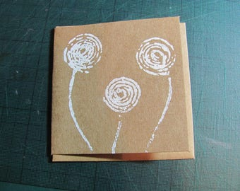 "Abstract White Swirls small card 3"" square"