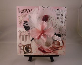 """Original Mixed Media Collage Art, 5x5, Canvas, """"Loveable,"""" Baby Girl"""