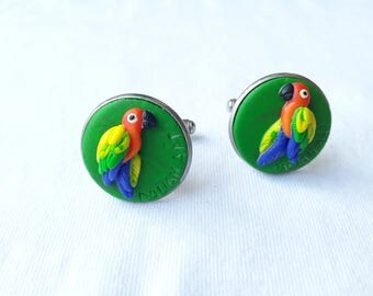 Parrot cuff links sun conure handmade clay and stainless steel cufflinks