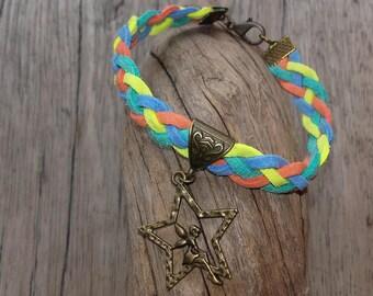Star and fairy multicolor braided bracelet