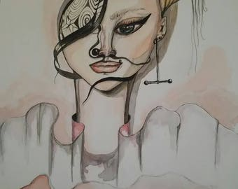 Illustration- That way- original/ print watercolor drawing. female with head full of ideas and she is calm and sure to fullfill herself