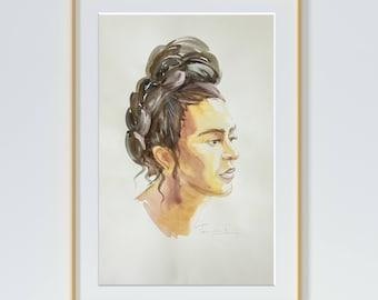 """Original watercolor,portrait, Frida Kahlo,Size:10""""x 16''"""