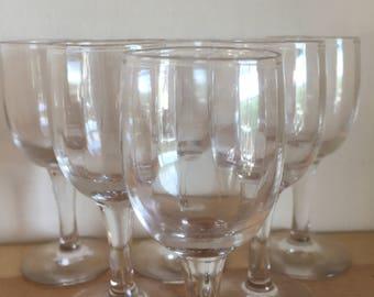 Set of Six Vintage Pretty Ribbed Aperitif Glasses