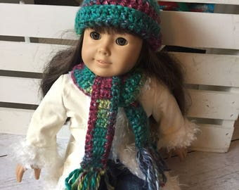 Doll Hat and scarf, 18 Inch Doll Hat, Crochet Doll Hat, Winter Doll Hat, Doll scarf, Doll Clothes, Doll Accessory, Doll Scarf, Doll