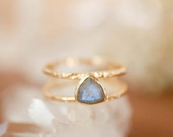 Labradorite Triangle Ring Gold Statement Gemstone Bridal Bridesmaid Wedding