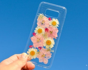 Samsung Galaxy S7 S8 + Bumper Phone Case Real Flowers, All Natural Sun Dried Pressed Flower iPhone 6 6s 7 7s Plus: Rose Petal Cherry Blossom