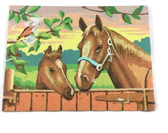 Vintage Paint by Number Horse, Damaged Paint by Number, Sale Paint by Number, Vintage Painting, Mid Century PBN,Horse Painting,Vintage Decor