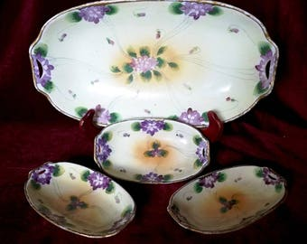 Nippon Hand Painted E-OH Violets Celery Dish + 3 Salt Cellars Set, Purple Floral Beaded China Gold Edging