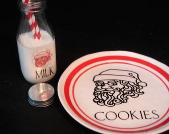 Santa cookie plate and milk bottle