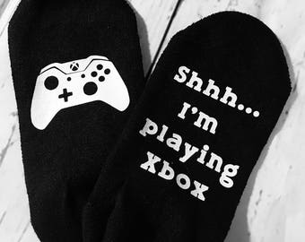 X Box Socks / Custom Socks / Shhh... I'm Playing X-Box / Gaming Socks / Video Gamer/Wedding Party Gift/Playstation Socks/ Gamer Clothing