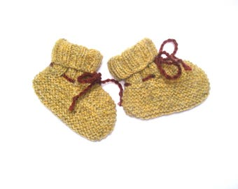 Hand knitted bootees 0 - 6 months