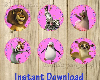 Madagascar Cupcake Toppers, Instant Download, Digital File