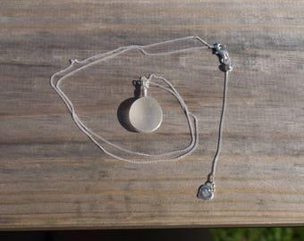 Round White seaglass + Stirling Silver pendant
