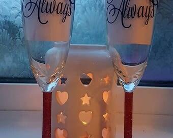 Valentine's glasses. Champagne flutes. Glitter glasses. Valentine's gift. Forever and always. Glitter champagne flute. Anniversary gift.