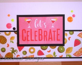 Handmade celebration card tropical fruit theme