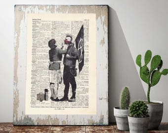 Print Banksy-mother and son-on antique page