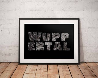 Wuppertal - A4 / A3 print - MapInBlack
