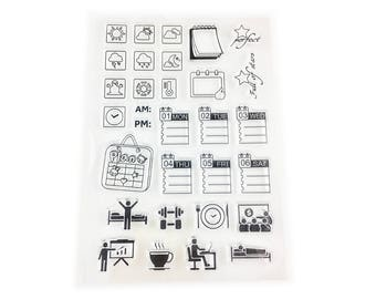 Weather Planner Stamp, Calendar Stamp, Clear Transparent Stamp, Rubber Stamp, Planner Journal Accessories, Daily Planner Stamp