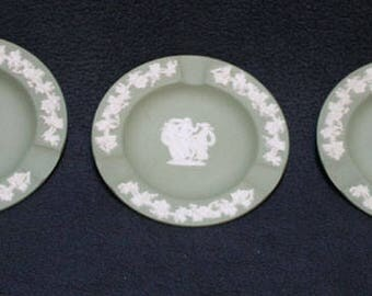 Vintage Wedgewood Jasper Ware, Jasperware, Sage Green Ash Tray Collection Set of 3 Ashtray