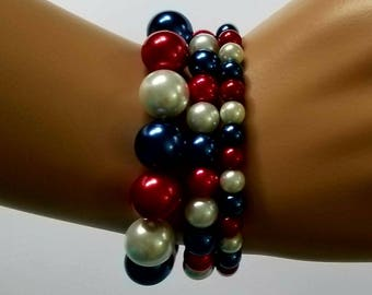 Red, White and Blue Bracelets