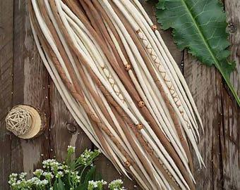 WOOL DREADS Ready Full set wool dreadlocks  DE dreads blonde handmade X42 ecologically