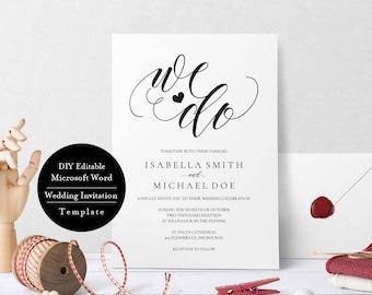 Rustic Wedding Invitation, Vintage Wedding Invitation, Printable Wedding Invitation Templates,  DIY Wedding Invitation,Editable Text, MSW140