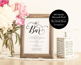Wedding Bar Sign,Drink Menu, The Bar Sign, Bar Menu Sign, Wedding Sign, Wedding Bar Menu Printable, Instant Download, calligraphy MSW262
