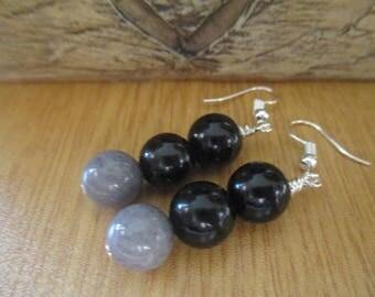 Black Onyx and Grey Agate Drop Earrings