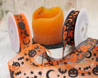 Halloween Ribbon, Trick Or Treat, Orange Organza Ribbon, Black Organza Ribbon, All Hallows Eve Ribbon