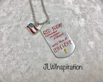 R.E.D. Friday necklace, deployed, support our troops, military, Marines, Army, Navy, Coast guard, Air Force, patriotic, usa, gift, present