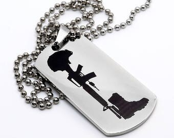 Dog Tag, Military Style Dog Tag, Stainless Steel Dog Tag, Jewelry Dog Tag, Personalized Dog Tag, Military Style Jewelry, USMC Cross