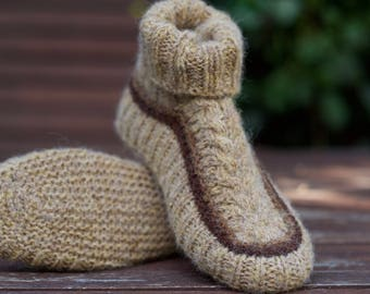 Knitted Slippers socks boots Wool Brown Beige Warm Home slippers Wool socks for women men unisex Pure Shetland wool  Gift for her Knit gift