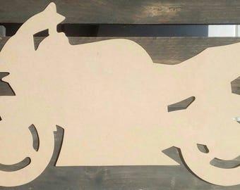 Bike silhouette wood scalloped paint medium