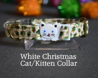 WHITE Christmas cat collar - cat collar with jingle bell - breakaway cat collar - luxury cat collar - holly berry white Christmas collar