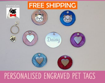 Cat tag engraved - Round cat face - Round heart pet tag -  personalised pet tag engraved - Valentine pet tag
