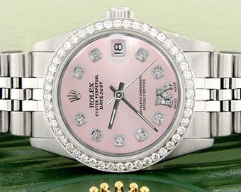 Women's Rolex Datejust 31mm S/S Jubilee Watch w/Pink Roman Dial & Diamond Bezel