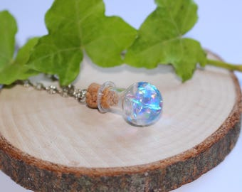 "Blue balloon ""potion"" vial necklace"