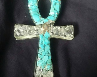 Super Turquoise and Quartz Crystal Orgone Ankh