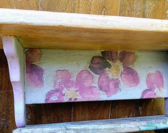 Purple and Yellow Floral Wall Shelf, Wooden Book Shelf