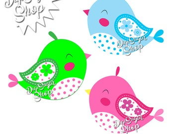 3 Cute and Colorful Spring Birds Clipart - PNG/Vector - 3 pieces - Instant Download