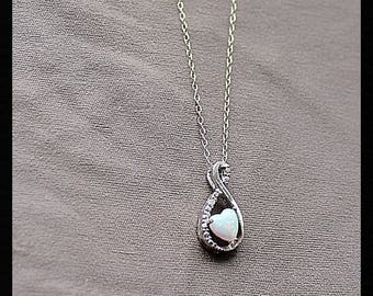 Sterling Silver Fire Opal & Cubic Zirconia Necklace