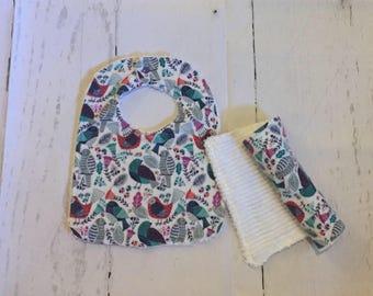 Birds Baby Girl Bib and Burp cloth Gift Set