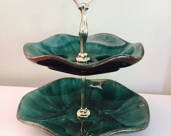 Vintage Blue Mountain Pottery 1970's Two Tier Serving Dish