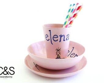 Personalized plate,Dinner set,Dinnerware set,Dinner plates sets,Ceramic plates,Decorative plates,Personalised plates,Kids cups,Gift for girl