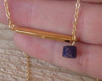 Gold plated necklace of Lapis lazuli