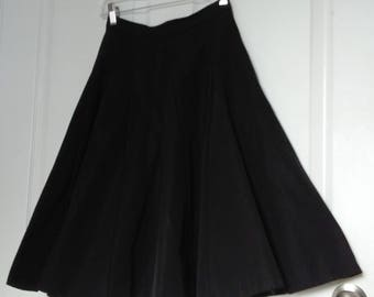 RARE Mint Condition 50's or Early 60's Circle Skirt by Canadian Designer Val Hughes, Rockabilly Skirt, Black Swing Skirt, Size XS/ XXS