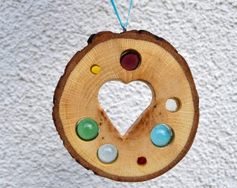 Sun Catcher Heart 11 cm-Oak